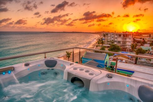 sxm sunset view from rooftop terrace hot tub